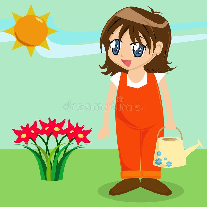 Muchacha linda de la historieta en jardín libre illustration