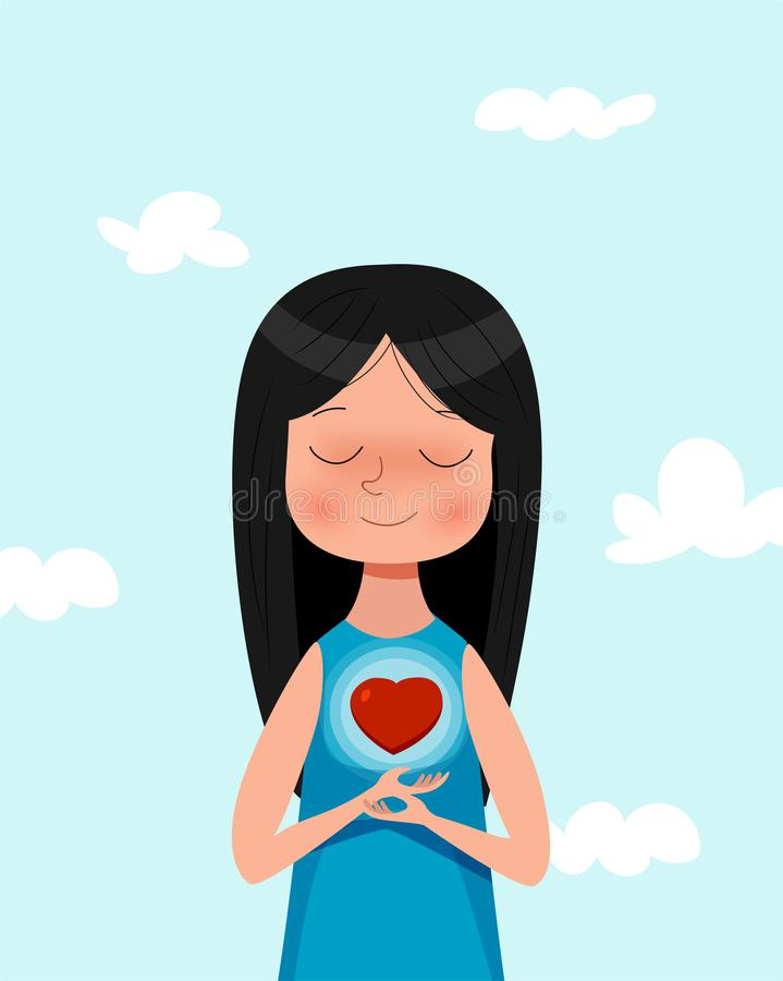 Muchacha linda de la historieta que lleva a cabo símbolo del amor En el ejemplo del concepto del amor libre illustration