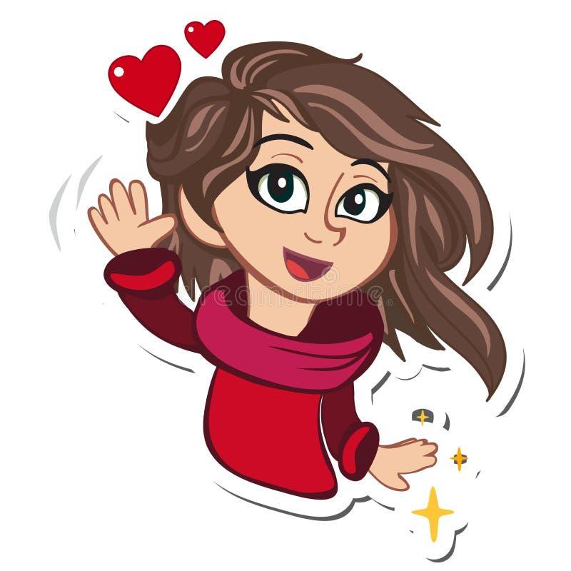 Muchacha linda de la historieta Tarjetas de felicitación románticas con los corazones libre illustration