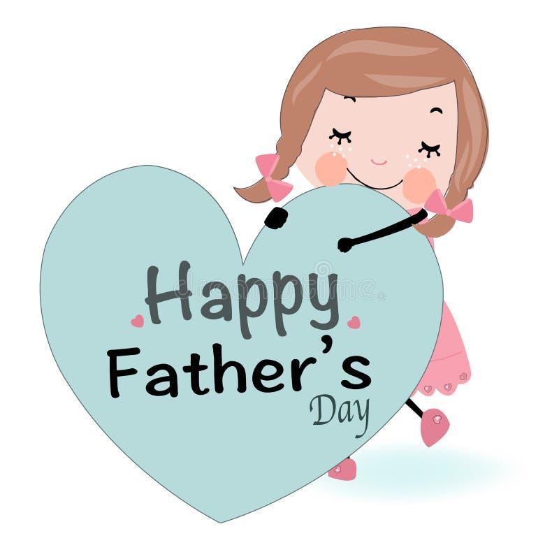 Muchacha linda de la tarjeta del día de padres que lleva a cabo vector del corazón stock de ilustración