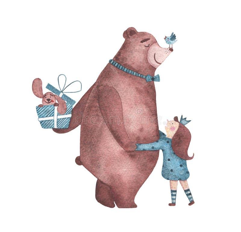 Muchacha linda de los abrazos de oso de la acuarela y felicitarla con feliz cumpleaños imagen de archivo