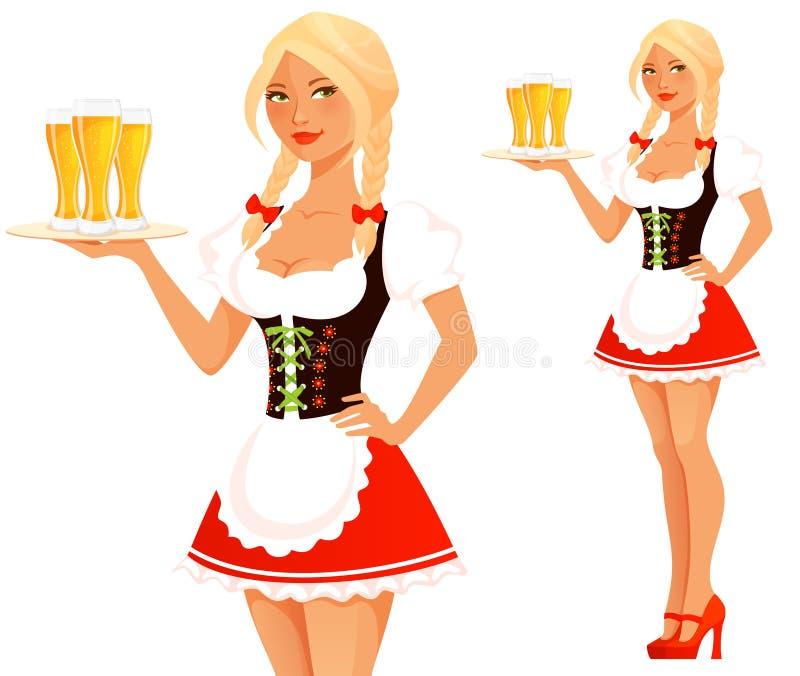 Muchacha linda de Oktoberfest de la historieta libre illustration