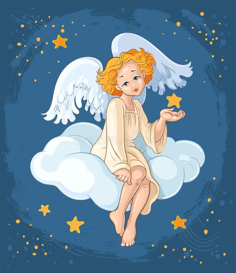 Muchacha linda del ángel que se sienta en una nube stock de ilustración
