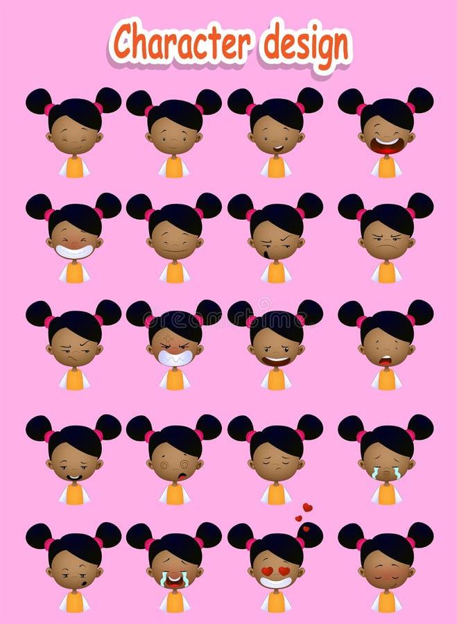 Muchacha linda del afroamericano de la historieta ilustración del vector