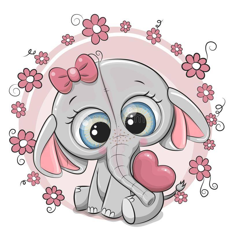 Muchacha linda del elefante de la historieta con el corazón y las flores stock de ilustración