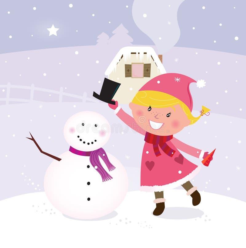 Muchacha linda del invierno de la Navidad en la fabricación del muñeco de nieve ilustración del vector