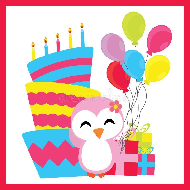 Muchacha linda del pingüino con la torta de cumpleaños, los globos, y los regalos historieta, la postal del cumpleaños, el papel  libre illustration