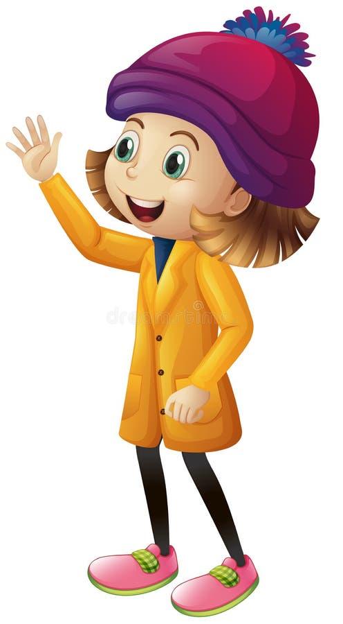 Muchacha linda en agitar de la ropa del invierno stock de ilustración