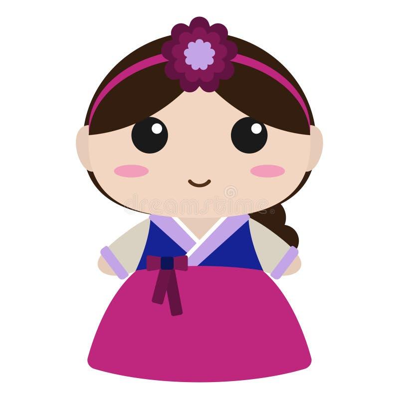 Muchacha linda en coreano Hanbok libre illustration