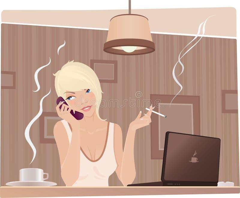 Muchacha linda en el café libre illustration