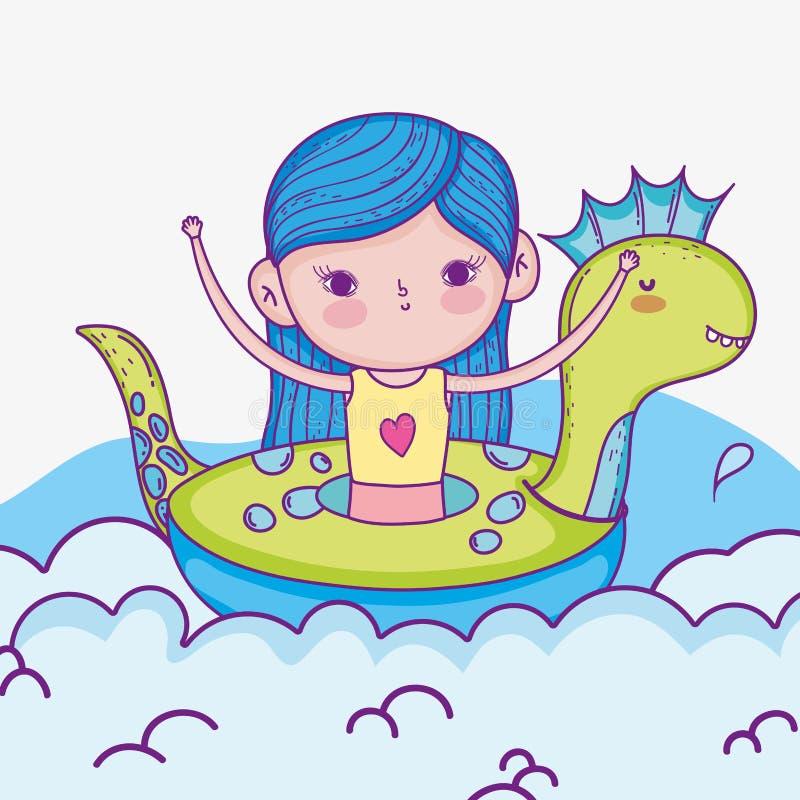 Muchacha linda en el flotador y el traje de baño del dinosaurio ilustración del vector