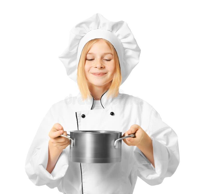 Muchacha linda en uniforme del cocinero fotos de archivo libres de regalías