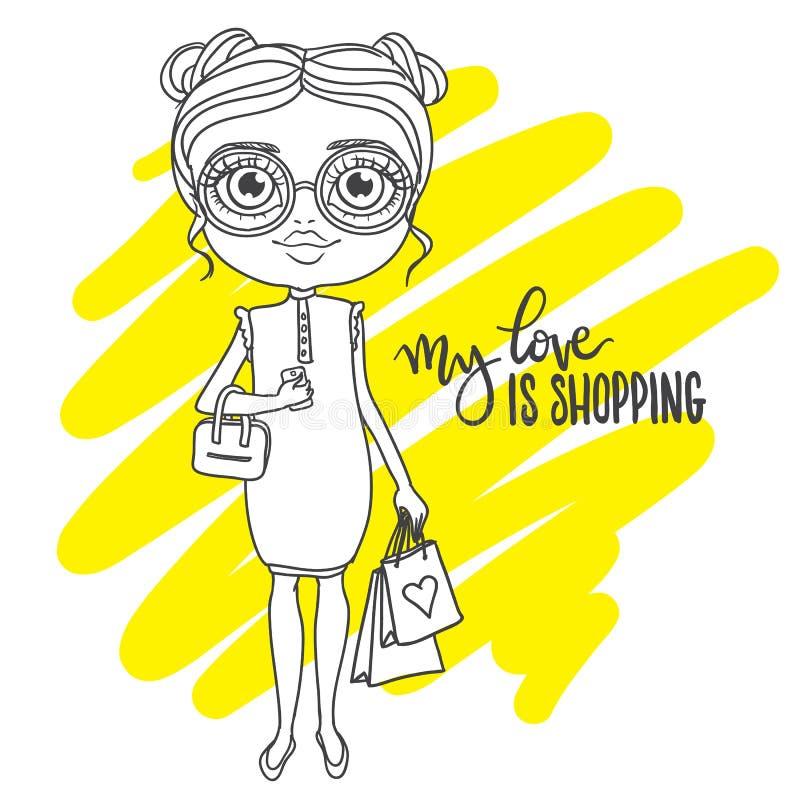 Muchacha linda en vidrios con los paquetes de las compras Inscripción: mi amor i ilustración del vector