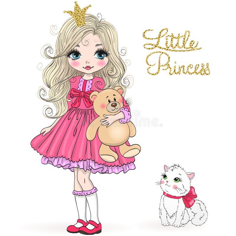 Muchacha linda hermosa exhausta de la princesa de la mano pequeña con el oso y el gato de peluche stock de ilustración