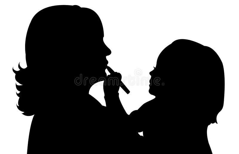 Muchacha linda que aplica el lápiz labial en su mamá stock de ilustración