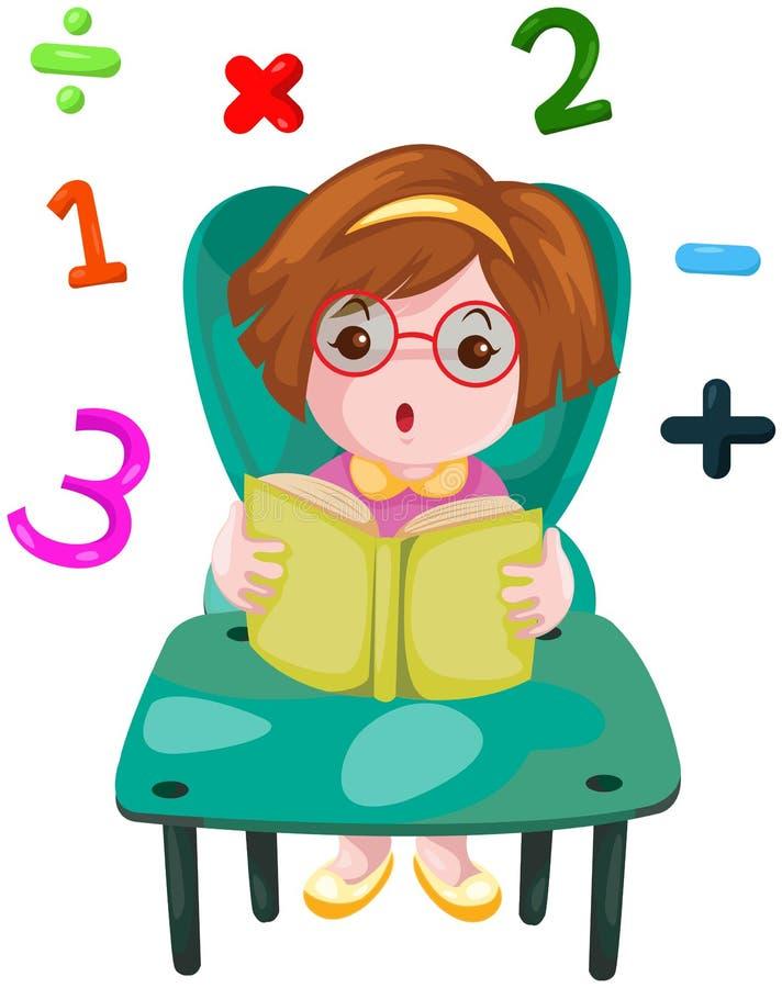 Muchacha linda que estudia matemáticas ilustración del vector