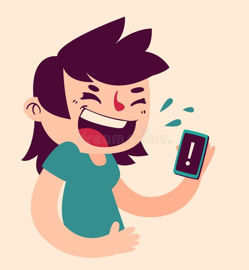 Muchacha linda que se ríe del teléfono ilustración del vector
