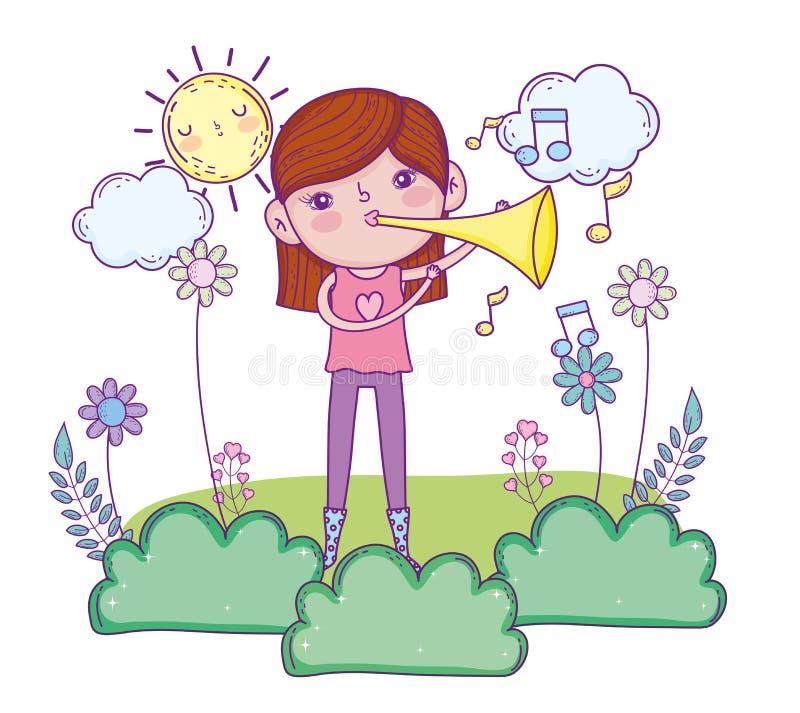 Muchacha linda que toca el instrumento de la trompeta stock de ilustración