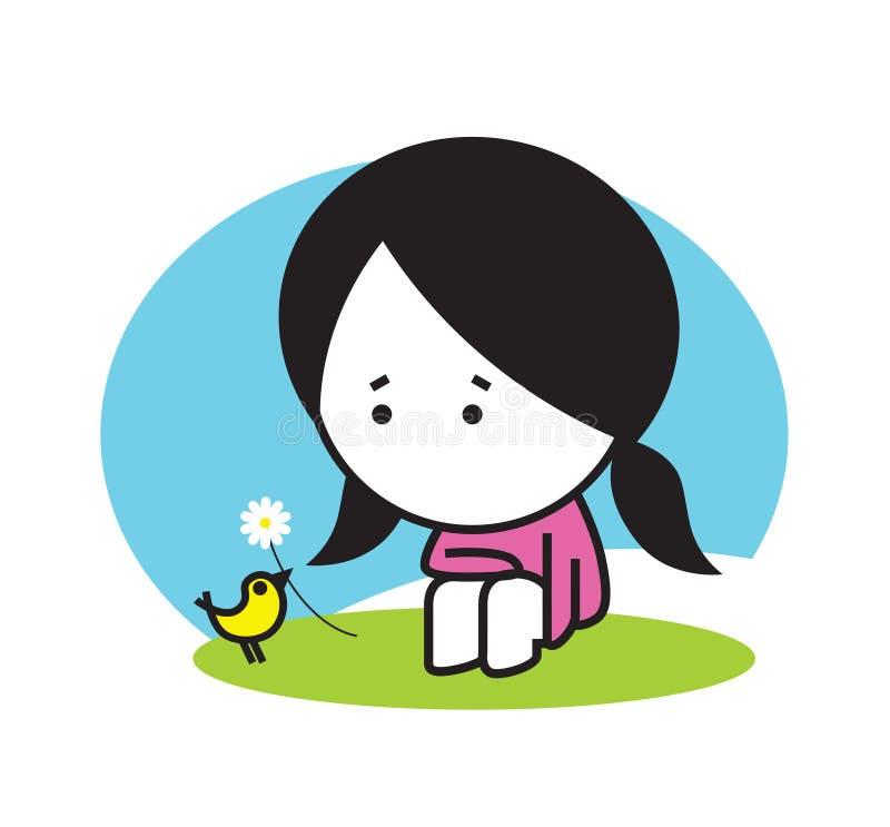 Muchacha linda y pequeño pájaro, hierba verde, cielo azul, ejemplo del diseño del vector, diseño mínimo Tarjeta preciosa para los stock de ilustración