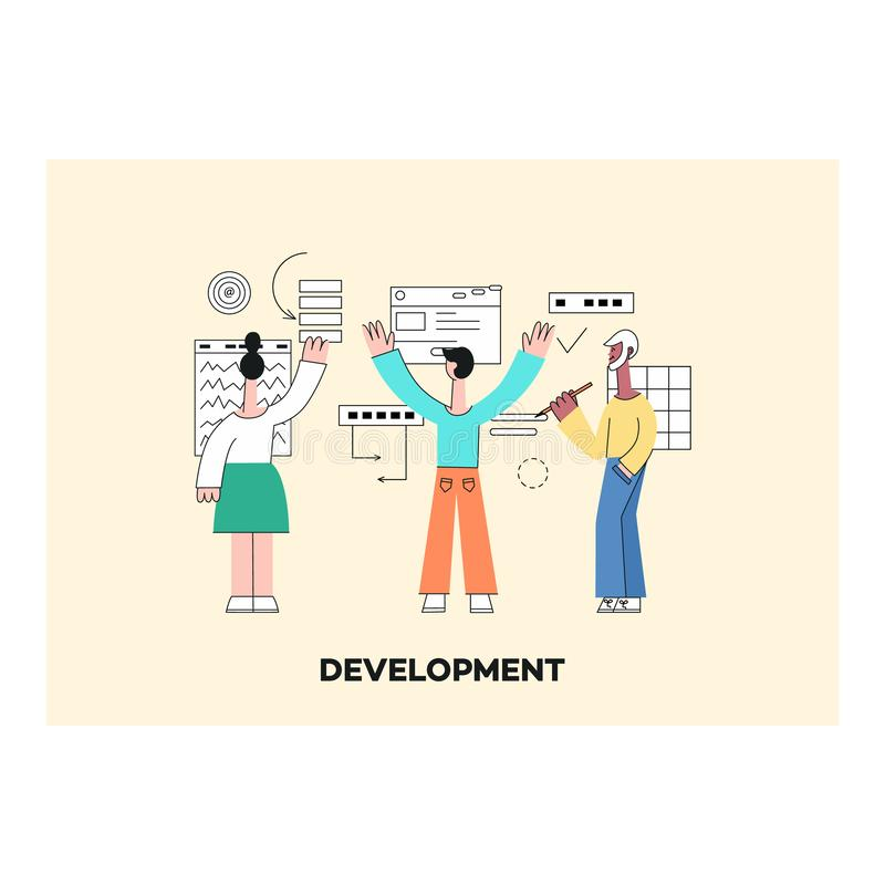 Muchacha móvil del desarrollo de los apps del vector, ordenador portátil del hombre stock de ilustración