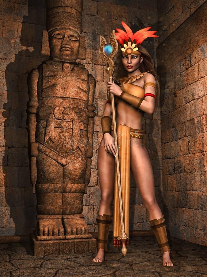 Muchacha maya de la fantasía ilustración del vector