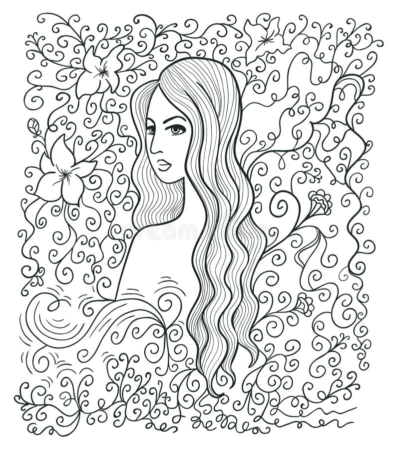 muchacha Mitad-dada vuelta stock de ilustración