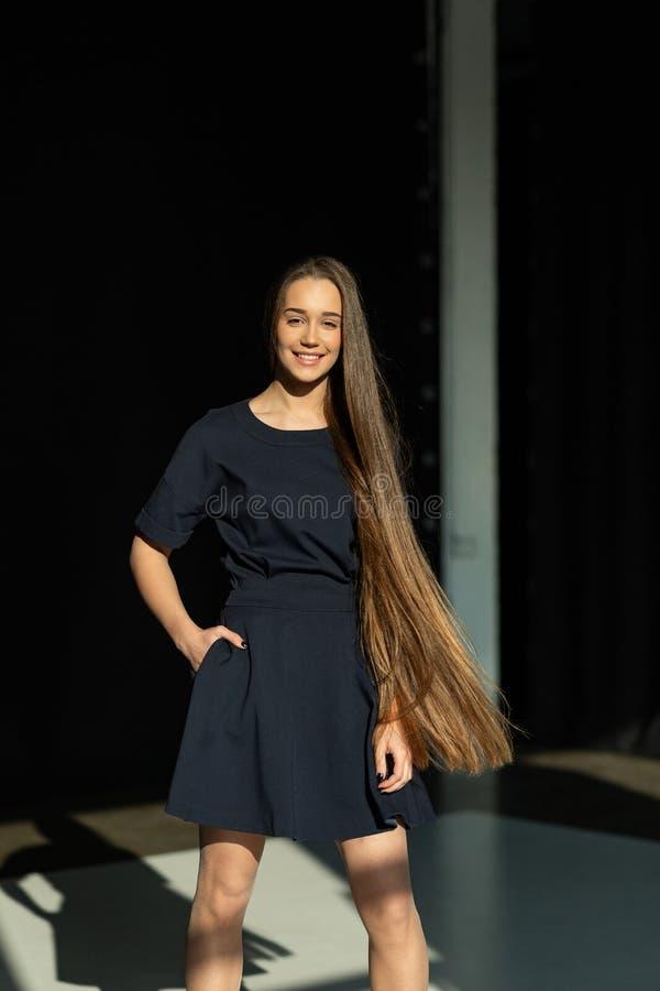 Muchacha modelo hermosa con el pelo largo marrón y recto brillante foto de archivo