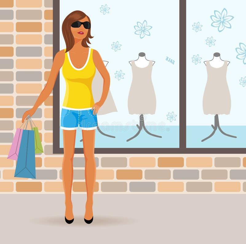 Muchacha moderna con los bolsos de compras libre illustration