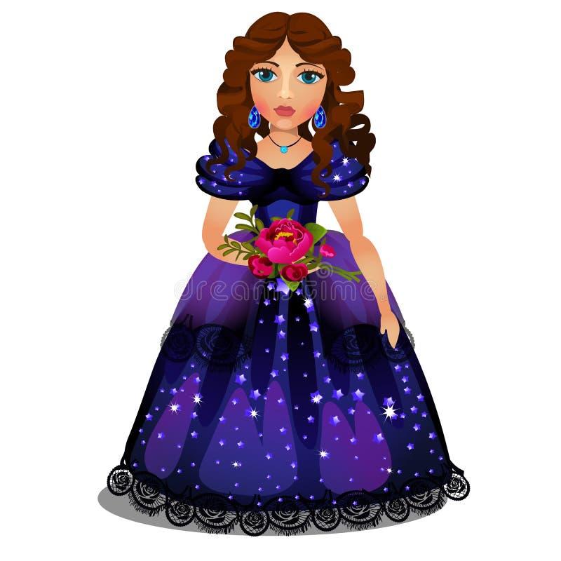 Muchacha morena joven hermosa en el vestido azul que sostiene un ramo de flores rojas aisladas en el fondo blanco Vector libre illustration