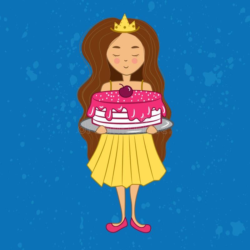 Muchacha morena linda del cumpleaños en corona con la torta ilustración del vector