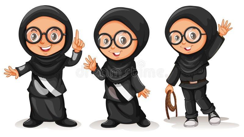 Muchacha musulmán en trajes negros libre illustration