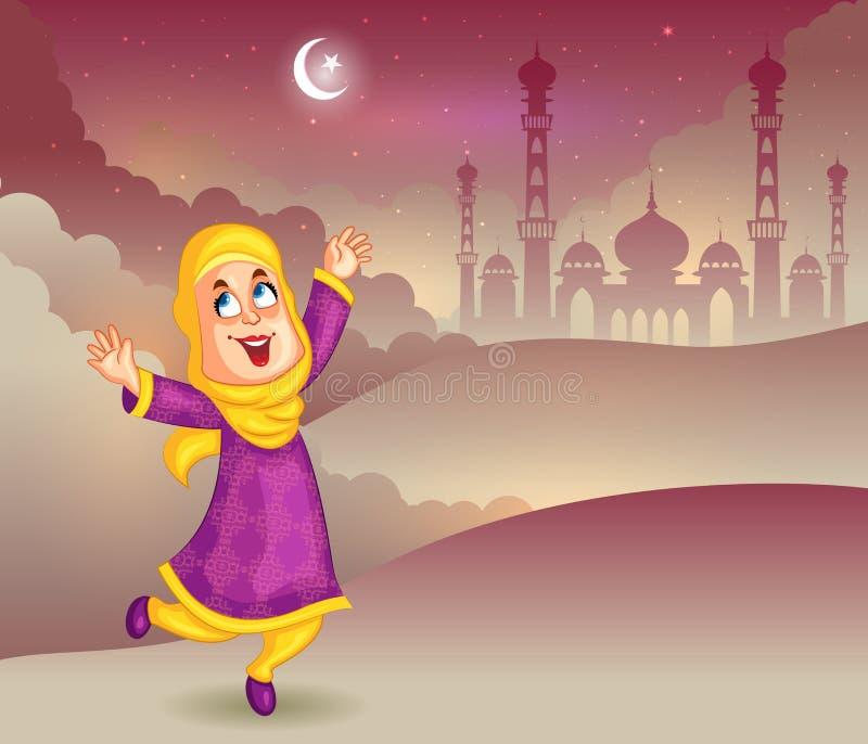 Muchacha musulmán feliz que desea a Eid Mubarak stock de ilustración