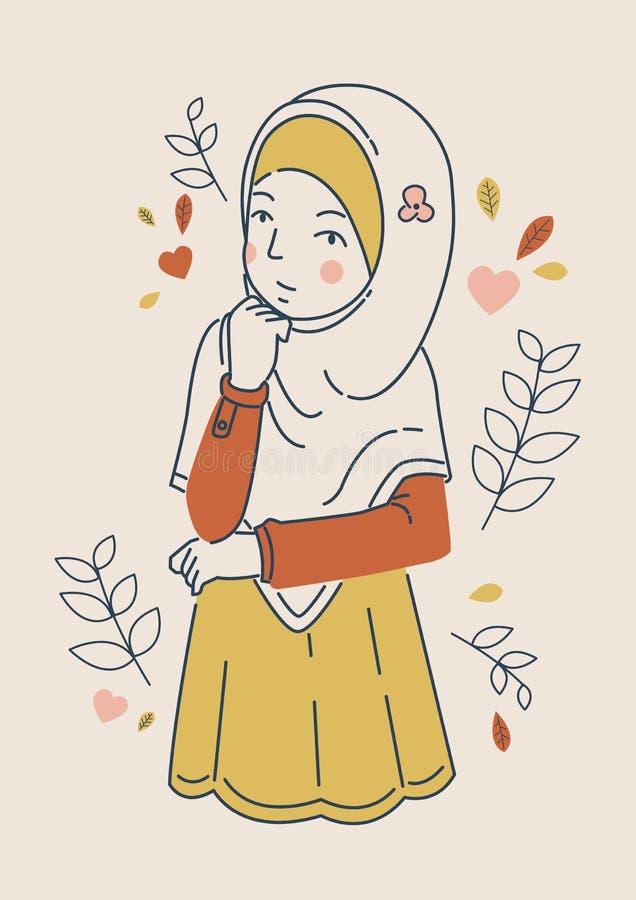 Muchacha musulmán joven pensativa libre illustration