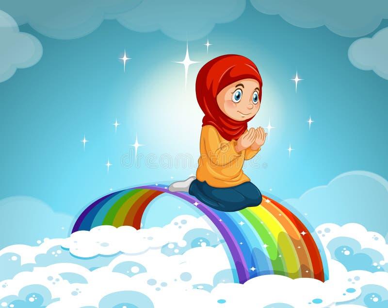 Muchacha musulmán que ruega sobre el arco iris stock de ilustración