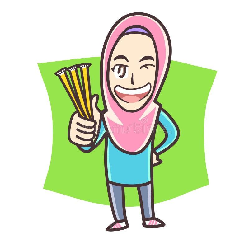 Muchacha musulmán que sostiene el palillo de la miel imagen de archivo libre de regalías