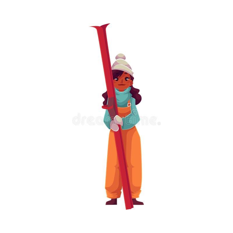 muchacha negra Adolescente-envejecida que sostiene el esquí stock de ilustración
