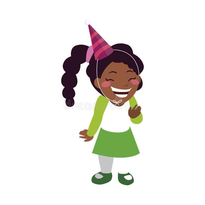 Muchacha negra feliz linda con el sombrero del cumpleaños libre illustration