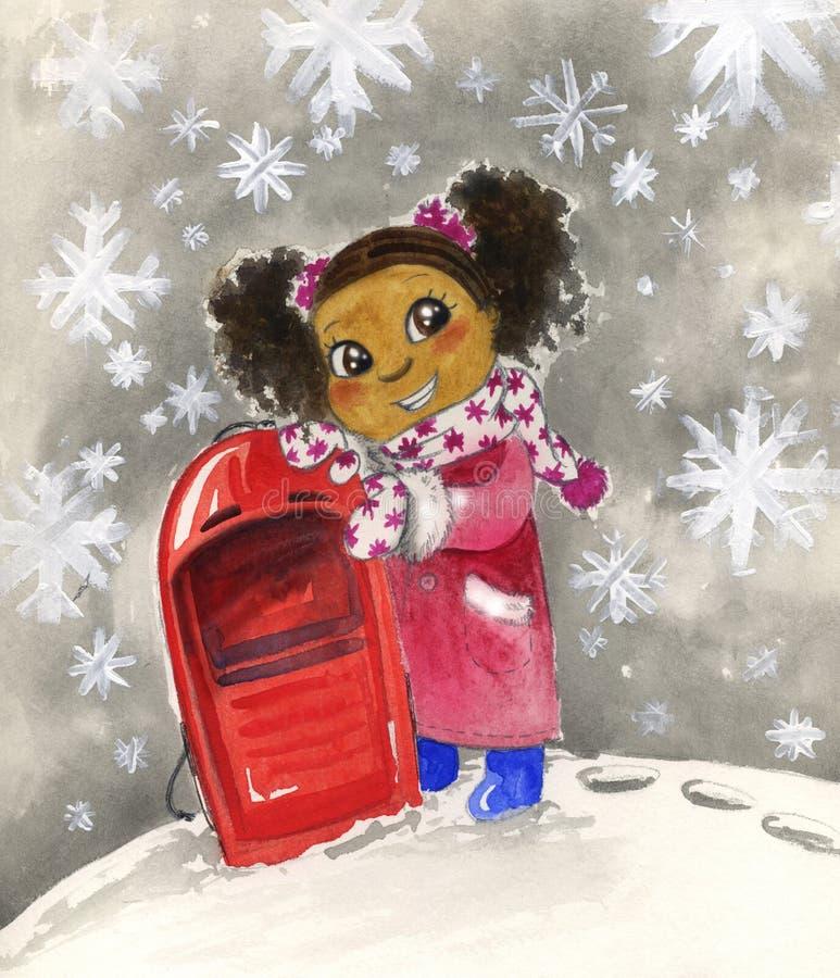 Muchacha negra joven con el trineo rojo stock de ilustración