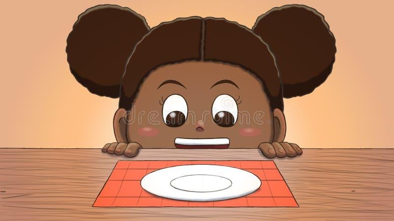 Muchacha negra que mira la placa vacía ilustración del vector