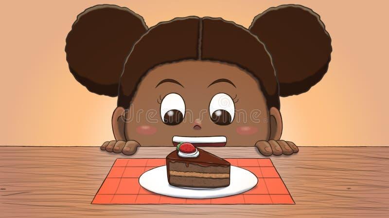Muchacha negra que mira la rebanada de la torta stock de ilustración