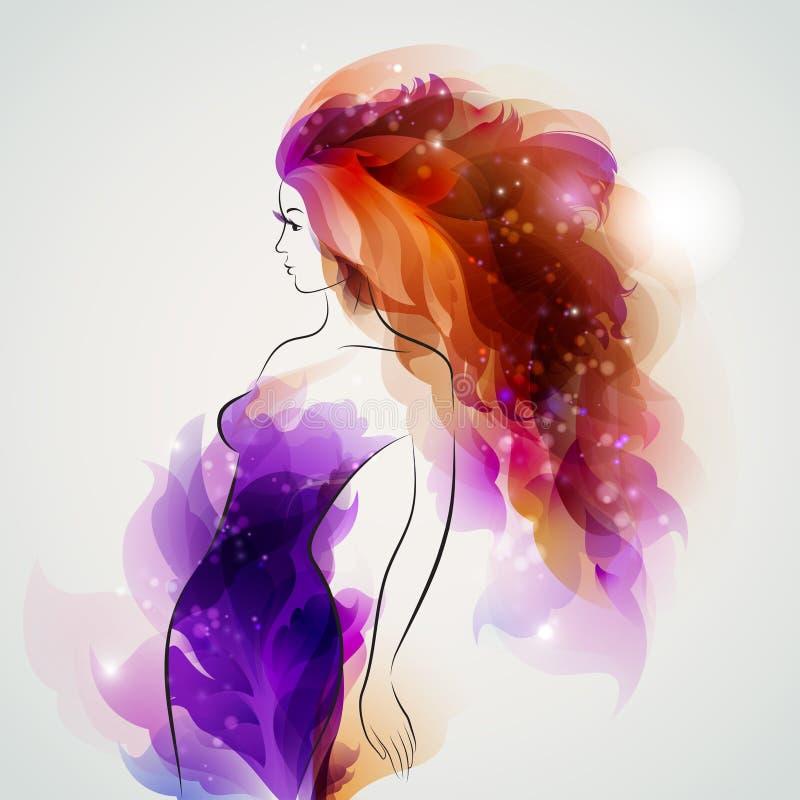 Muchacha púrpura de la imagen stock de ilustración