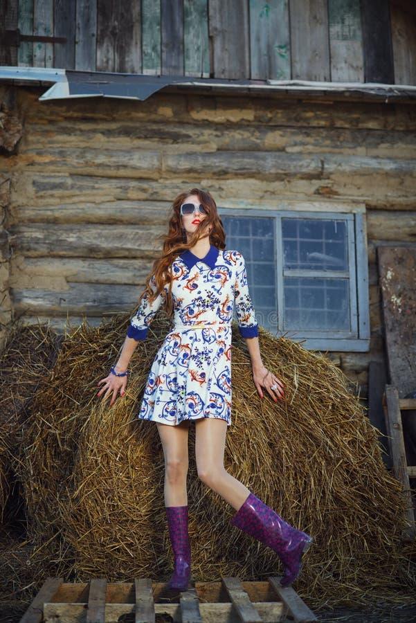 Muchacha pelirroja atractiva en un vestido en el heno imagen de archivo libre de regalías