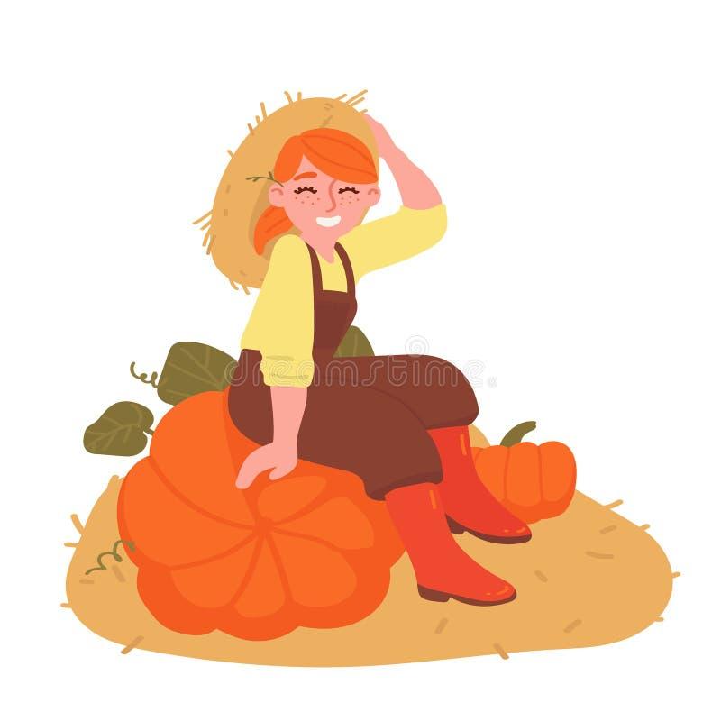 Muchacha pelirroja con las calabazas aisladas en el fondo blanco Personaje de dibujos animados Ejemplo del vector de la cosecha libre illustration