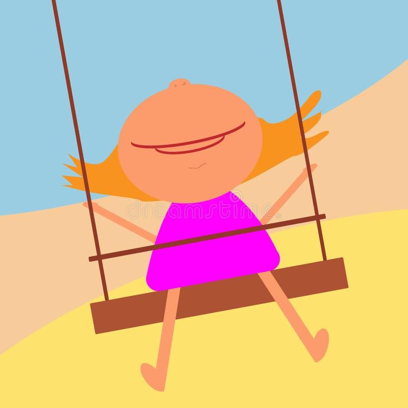 Muchacha pelirroja feliz en el oscilación que mira para arriba y que sonríe ilustración del vector