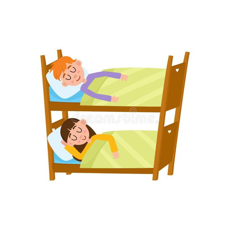 Muchacha plana y muchacho de la historieta de Vecotr que duermen en camas ilustración del vector