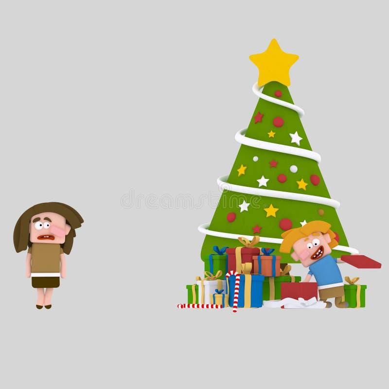 Muchacha pobre sin los regalos de la Navidad 3d stock de ilustración