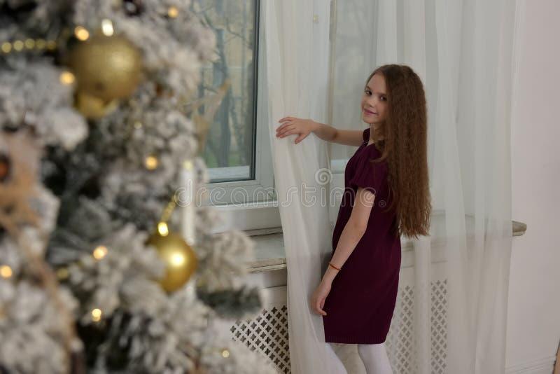 muchacha por la ventana, la Navidad foto de archivo