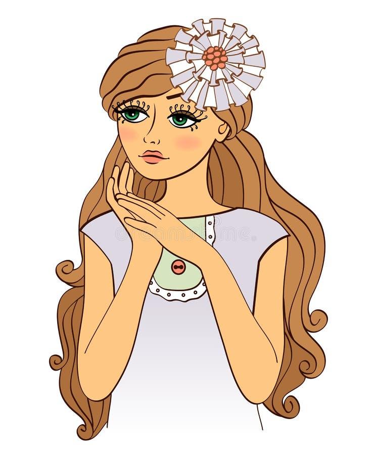 Muchacha preciosa agradable con el pelo ondulado ilustración del vector