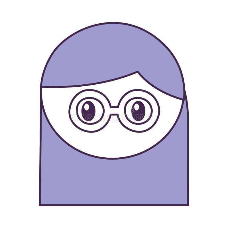 Muchacha principal con la expresión de los vidrios libre illustration