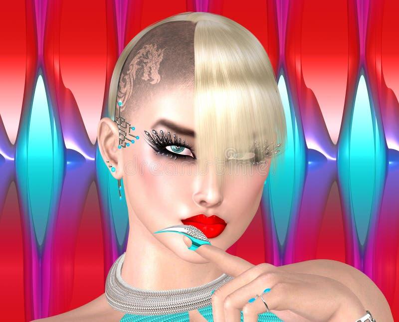 Muchacha punky con el peinado del Mohawk en fondo abstracto colorido libre illustration
